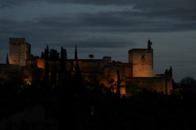 Grenade - la Alcazaba à la tombée du jour